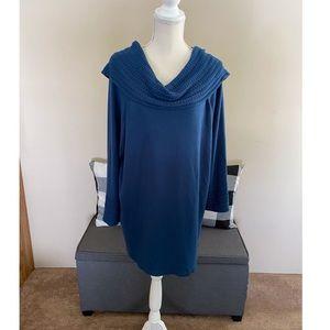 Dressbarn Deep Turquoise Cowl Neck Sweater 3X